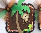 Name banner / jungle / safari animals / decorations / photo prop / baby shower / birthday