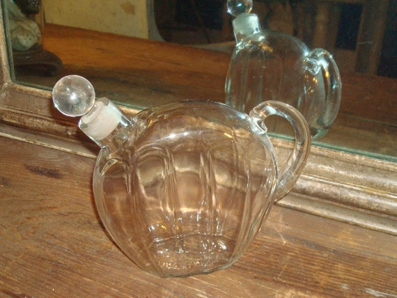 Antique French Stoppered Wine Bottle Thick Glass Handle