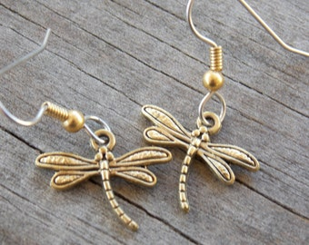 Surgical Stainless Steel Dragonfly Earrings, Gold Dragonflies on Hypoallergenic Steel, 1pair