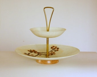 Mid Century Tiered Serving Dish, Fiberglass Bowl Tray, Wedding