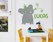 Nursery Wall Decals. Elephant with Custom Name Decal - Kids Wall Sticker Baby Name Decal