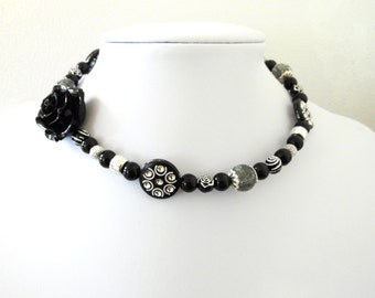 Day of the Dead Necklace Choker Rose Black Silver