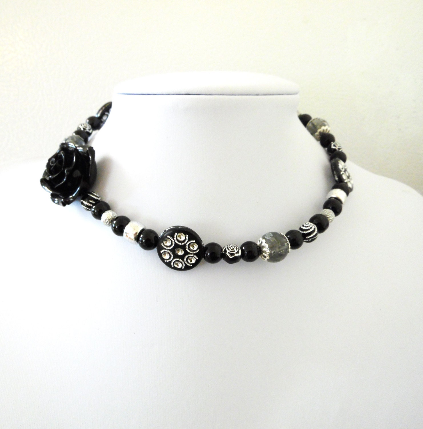 day of the dead necklace choker black silver