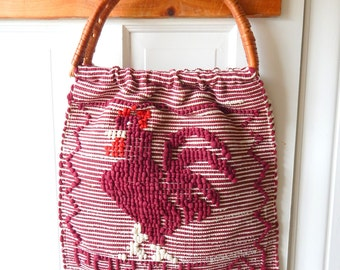 Vintage Portugal Rooster Tote Great Colors
