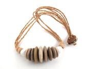 Necklace Rock Beach Stone Jewelry Mediterranean Pebble Choker Necklace Natural Stone Necklace Hemp Cord Jewelry Cream Beige BLOOM