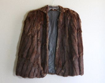 deep brown genuine RARE ermine FUR wrap- Mink Cape Shawl with Armholes GORGEOUS Capelet