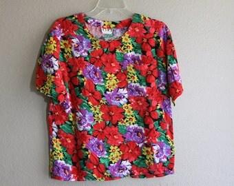 bold floral vintage 90's top