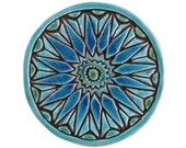 Moroccan tile art // Wall tile // Decorative tile // Ceramic art // Hand painted tile // Moroccan 15cm // Turquoise