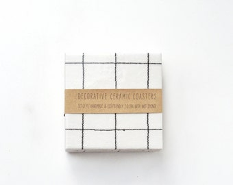 Simple Grid Coasters Black on Off White Minimal Drink Ceramic Tile Coasters Hostess Gift LAST ONE