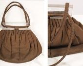 1940s handbag/ 40s faille lucite purse