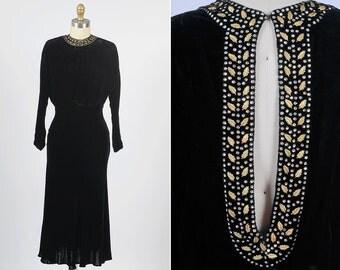 1930s dress/ 30s velvet dress with open back