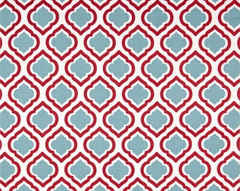 CLEARANCE - FABRIC - Curtis - Small Moroccan Quatrefoil Red and Blue - Home Decor - Premier Prints - 1 yard