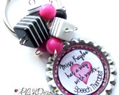 Speech Therapist Personalized  Beaded Bottle Cap Key Chain - Made to order