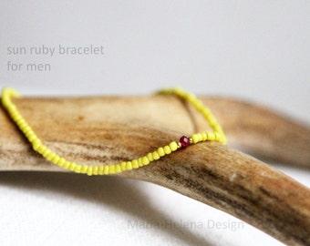 sun ruby bracelet for men - Maria Helena Design