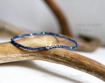 topaz center mens bracelet - very small bead bracelet with gem for men - Maria Helena Design