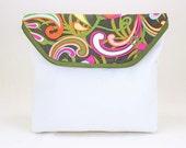 Multi Color Swirls With White Vinyl Bicycle Handlebar Bag