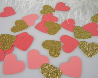 Coral & Gold Confetti Hearts | Table Scatter | Coral Wedding Decorations | Bridal Shower Baby Shower | Gold Glitter and two tones of Coral