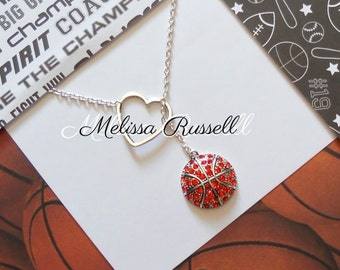 Basketball Lariat Necklace with Rhinestones & Heart Pendant, handmade jewelry