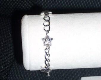 Silver Star Beaded Bracelet