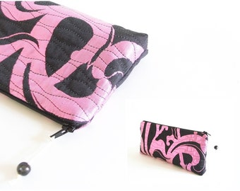 Neon Pink and Black Clutch, Unique Wedding Clutch, Pink Bridesmaid Gift Bag, Christmas Gift for Her