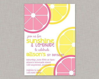 Lemonade Invitation, Lemonade Birthday Invitation, Lemonade Party