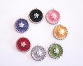 2 Inch Tea Filter with handmade bottlecap glitter charm - Flower Sparkle - Tea Infuser with Glitter Charm