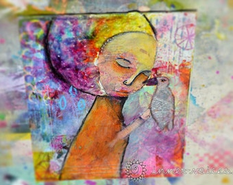 A Thing Called Love -- An original Nixie Mixed Media painting