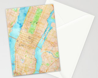 3x5 NYC Manhattan watercolor map greeting card
