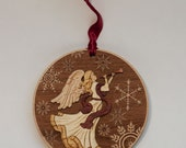 Elegant Wooden Angel Ornament
