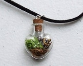 The WITCHES Vine Pendant Terrarium Necklace, Black Cord Necklace, Real Witch Grapevine, Wicca, Goth
