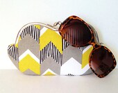 Lare sunglass case, Yellow and Gray Chevron Stripe large sunglass case or small clutch