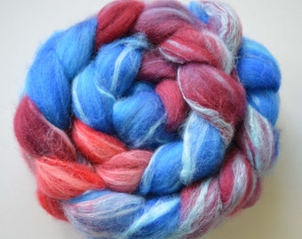 Hand Dyed Merino and Bamboo Spinning Fiber Roving