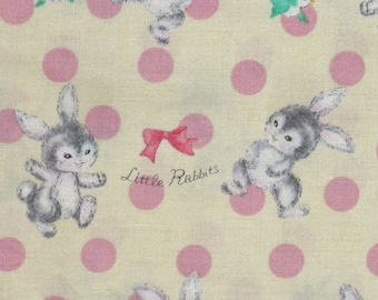 Dear Little World, Japanese Fabric, Bunnys and Birds, Vintage style, Bunnies and Friends,  Pale Yellow, By the Yard