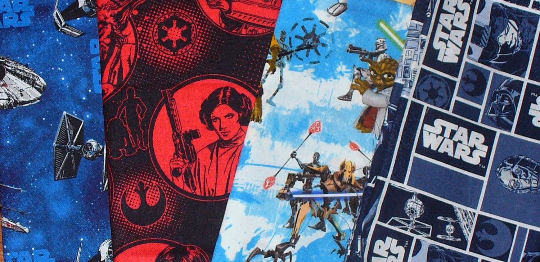 Star wars fabric 4 fat quarters blocks clone wars for Star wars fabric