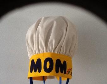 "Adult Chef Hat ""MOM"" Adjustable Band Washable"