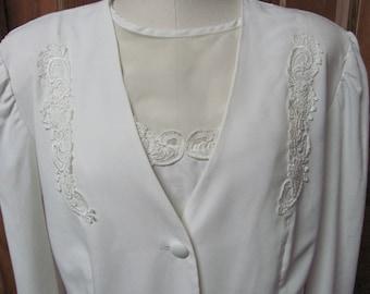 Plus size Wedding Dress Suit. White Size 24 Women's Vintage 80's Bride Dress & Jacket!