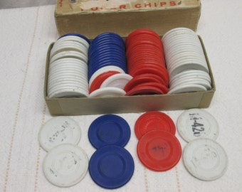Royal Flush Poker Chips with box, game pieces