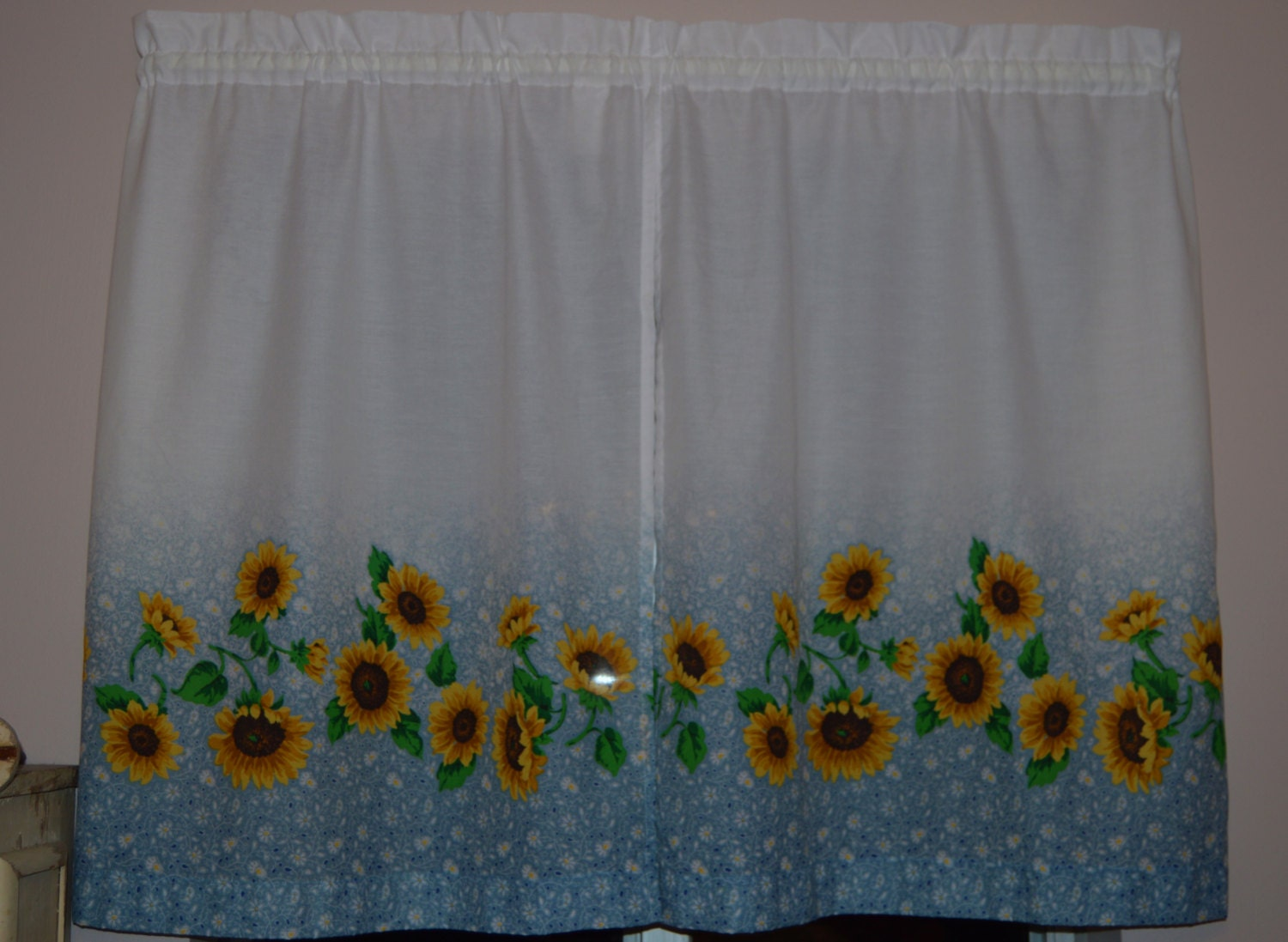 Vintage Kitchen Curtains Sunflower Curtains Blue Fades To