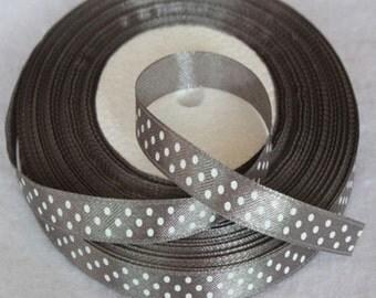 "Gray & White Polka Dot Satin ribbon-3/8""-10mm- 5 OR 10 YDS"