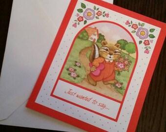 1980s Chipmunk Valentine's Day card