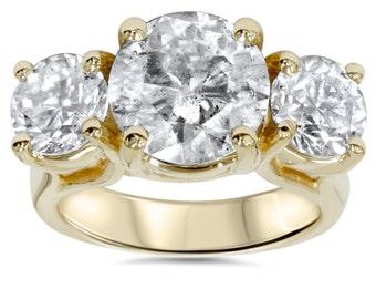 5.50 CT Huge Diamond 3 Stone Engagement Ring 14 KT Yellow Gold
