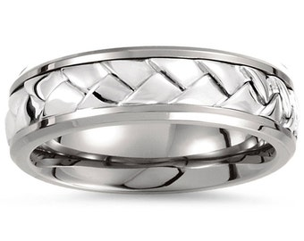 Titanium & Sterling Silver Inlay 7mm Woven Band Mens Wedding Ring Braided Comfort Fit