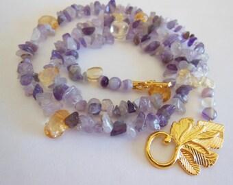 Amethyst on Citrine gemstone handmade necklace   716