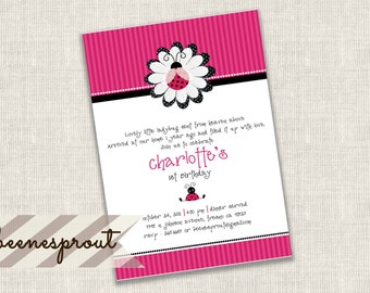 Pink and Black Ladybug Birthday Invitation