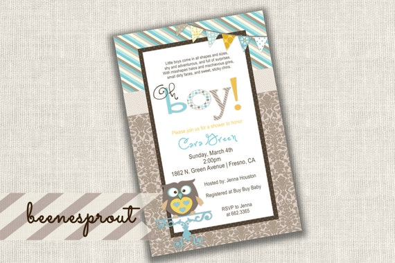 Baby Boy Owl Shower Invitation