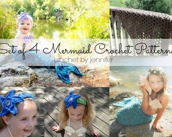 Set of 4 Crochet Patterns - Mermaid Tail, Headband, Bikini Top, Fishing Net Blanket Photography Props - Welcome to sell finished items