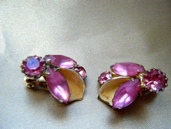 Weiss Pink Rhinestone Clip Earrings