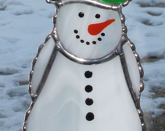 Christmas Holiday Stained Glass Suncatcher - Winter Icy Snowman with Style