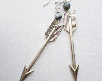 Steampunk Neo Victorian Silver Arrow with Denim Blue Bead