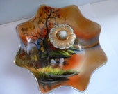 Antique Asian Theme Candy Dish Illustrated Candy Dish Asian Candy Dish